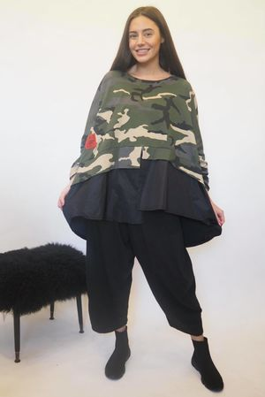 Mercer Peplum Camo Top