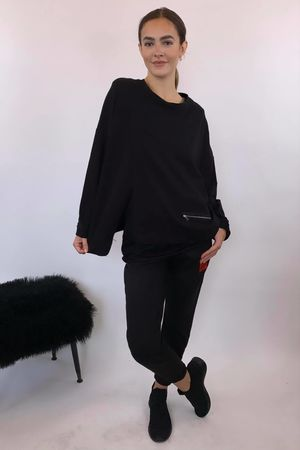 Mercer Split Oversized Box Sweat Black