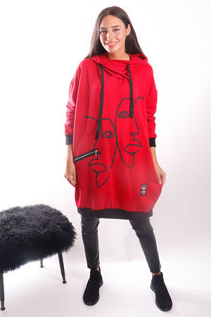 Mercer Two Faced Longline Hoody Red