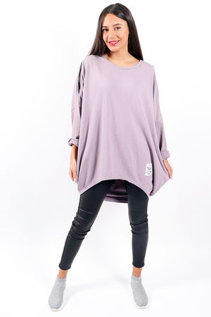 Made In Italy Mercer Zip Shoulder Slouch Sweat Dirty Lilac