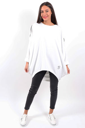 Made In Italy Mercer Zip Shoulder Slouch Sweat White