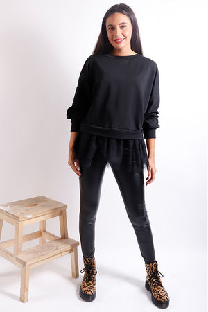 Mesh Peplum Sweat Black