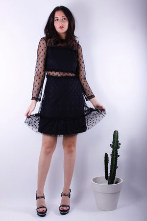 Mesh Star Lace Dress Black