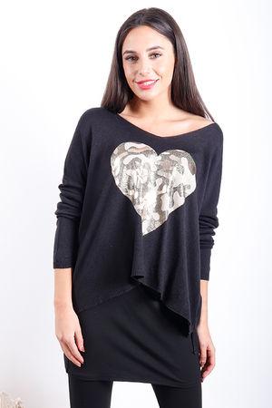 Metallic Camo Heart Knit Black
