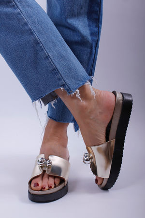Metallic Gold Ball Detail Flatform Sliders
