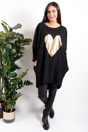Metallic Heart Tunic Gold