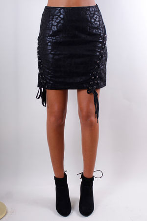 Metallic Leopard Lace Up Skirt Black