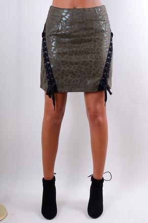 Metallic Leopard Lace Up Skirt Khaki