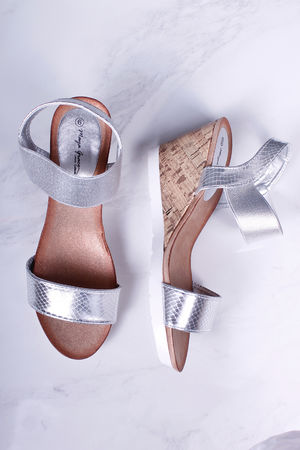 Metallic Silver Midi Wedges