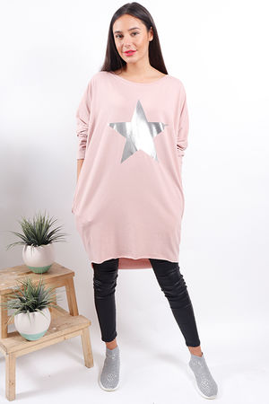 Made In Italy Metallic Star Tunic Pink