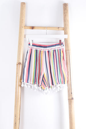 Mexicana Stripe Tassel Shorts White