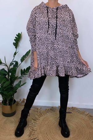 Micro Leopard Oversized Frill Hoody Blush