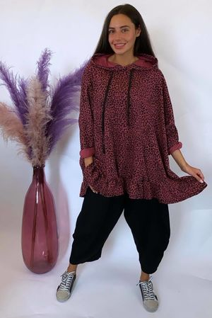 Micro Leopard Oversized Frill Hoody Cranberry
