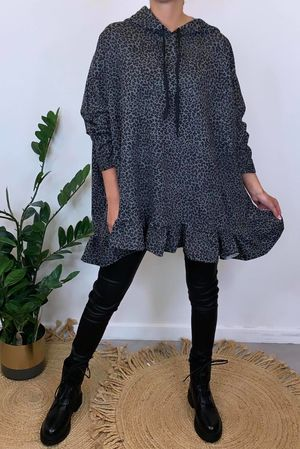 Micro Leopard Oversized Frill Hoody Graphite
