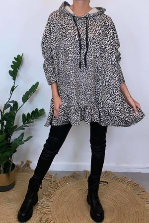 Micro Leopard Oversized Frill Hoody Natural