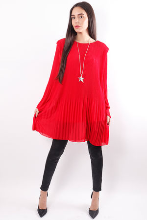 Micro Pleat Tunic Red