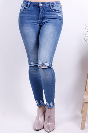 Mid Blue Stretch Ankle Cut Off Jean