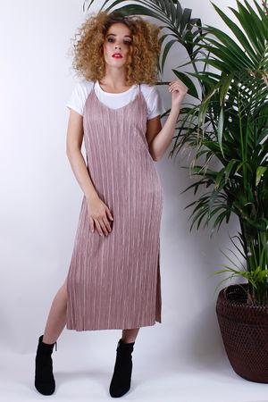 Mink Satin Pleated Dress
