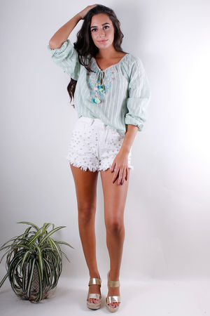 Mint Embroidery Peasant Blouse