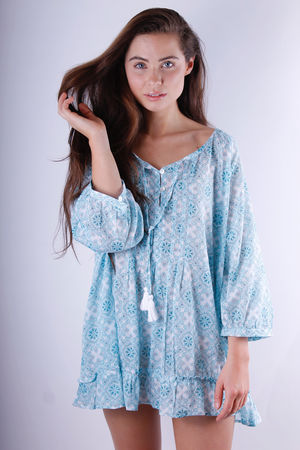 Mirinda Frill Cotton Tunic Love Blue