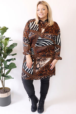 Mixed Animal Shirt Dress