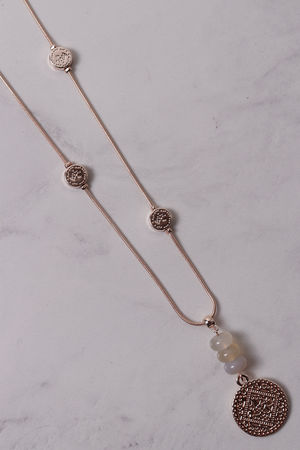 Monica Coin & Bead Necklace Rose