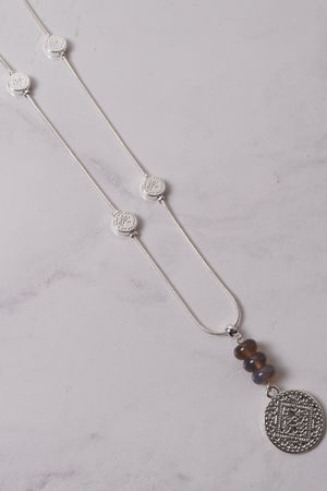 Monica Coin & Bead Necklace Silver