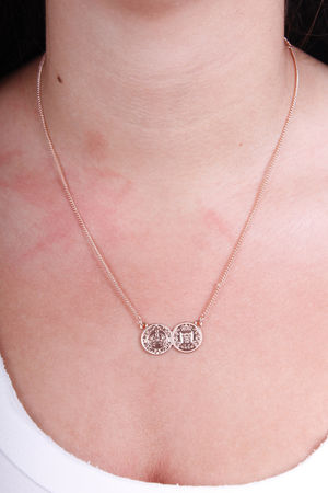 Monica Double Coin Necklace Rose Gold