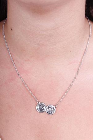 Monica Double Coin Necklace Silver