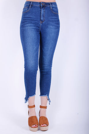 Mono Asymmetric Hem Skinny Jeans