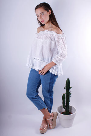 Moon Crochet Lace Off The Shoulder Top