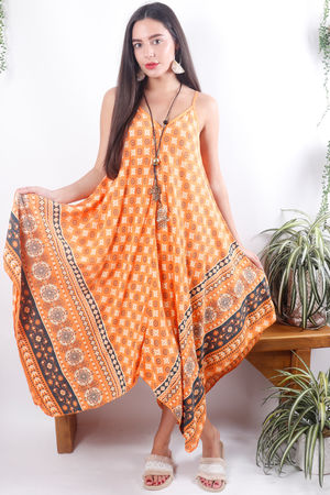 Moroccan Handkerchief Dress Tangerine
