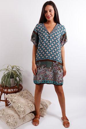 Moroccan Tile Dress Blues