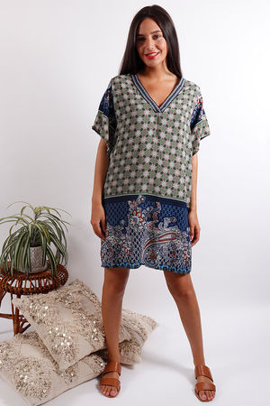 Moroccan Tile Dress Green