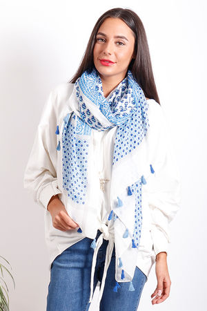 Moroccan Tile Tassel Scarf Mixed Blues