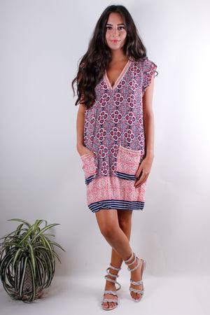 Moroccan Tile Two Pocket Dress Blaze