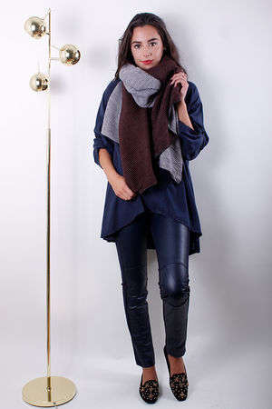 MSH Textured Scarf Brown & Grey