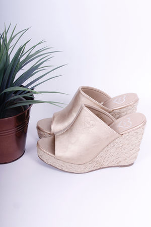 Mule Espadrille Wedges Gold