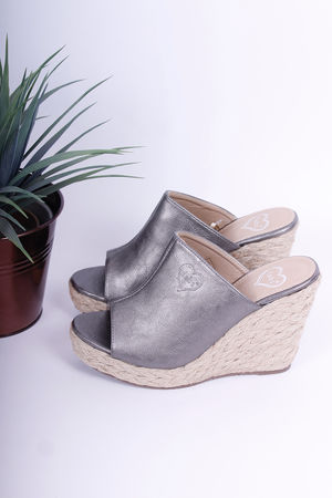 Mule Espadrille Wedges Pewter