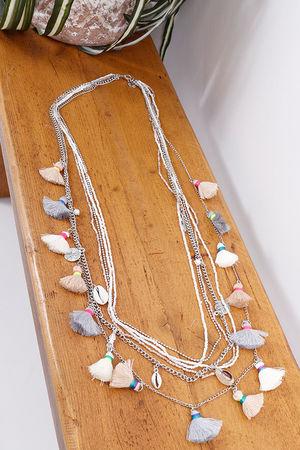 Multi Chain Tassel Necklace