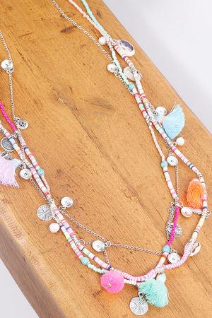 Multi Chain Tassel Necklace Colour Pop