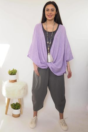 Muslin Button Twist Top Lilac