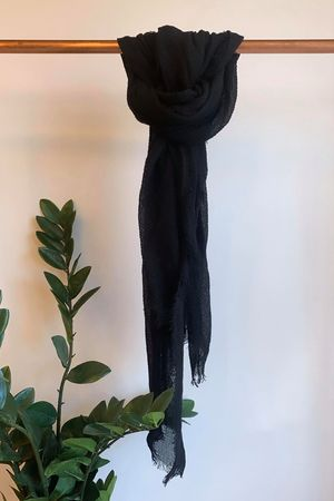 Muslin Raw Edge Scarf Black