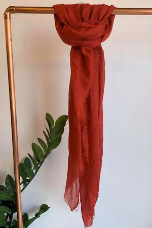 Muslin Raw Edge Scarf Bordeaux