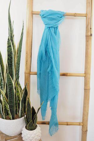 Muslin Raw Edge Scarf Turquoise