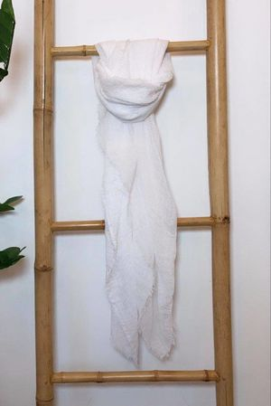 Muslin Raw Edge Scarf White