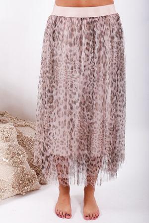 Namaste Midi Tulle Skirt Blush Leopard