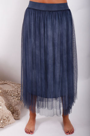 Namaste Midi Tulle Skirt Washed Denim