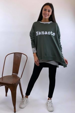 Namaste Oversized Zippi Sweat Khaki