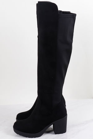 Neoprene Back Over The Knee Boots Black
